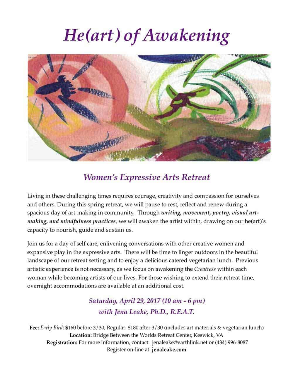 He(art) of Awakening Spring Women's Expressive Arts Retreat